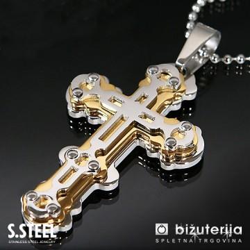 HIGHLANDER GOLD Velik obesek križ iz kirurškega jekla z verižico 60 x 40 mm C-166