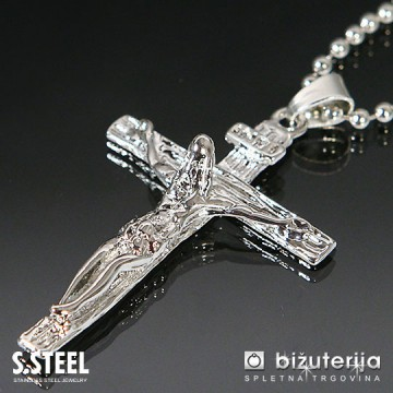 JEZUS Srebrn obesek križ iz kirurškega jekla z verižico 45x 30 mm C-172