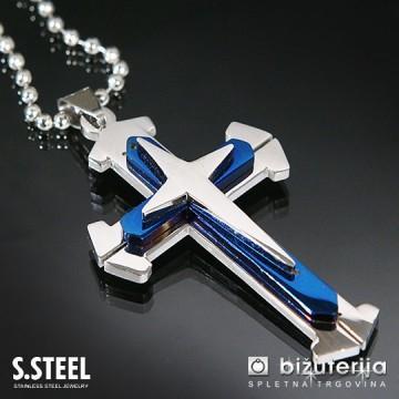 DEFENDER BLUE Obesek križ iz kirurškega jekla z verižico 50 x 35 mm C-174