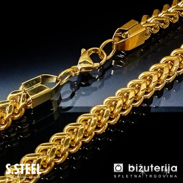 FRANCO BOX Zlata verižica iz kirurškega jekla 5 x 600 mm   O-117