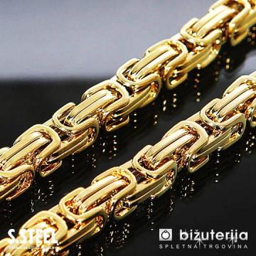 Mr. CAPTAIN Zlata moška verižica kraljevi vez  iz kirurškega jekla 8 x 550 mm O-640